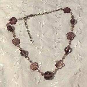 Flower beaded necklace carved flower